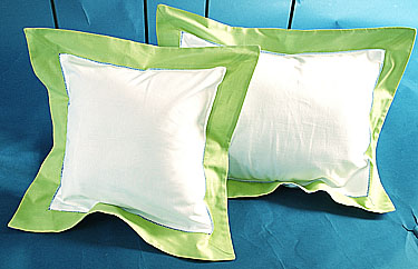 Fashion Designer Baby pillow. White with Hot Green. 12x16 pillow