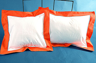 "Fashion Designer Baby Pillow. White with Hot Orange. 12"" Square"