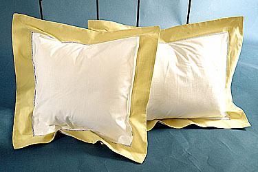 Fahions Designer baby pillow. White with Yellow. 12 in.Square