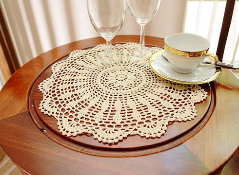 "Crochet Round Placemat. 14""round. Wheat color. 4 pieces pack."