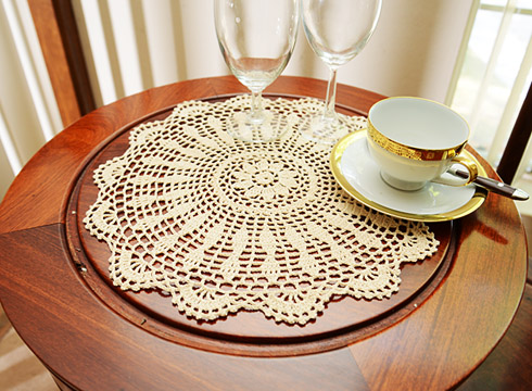 "Crochet Round Placemat. 16"" Round. Wheat color. 2 pieces pack"