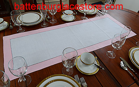 Table runner. White with Candy Pink. 16x45""