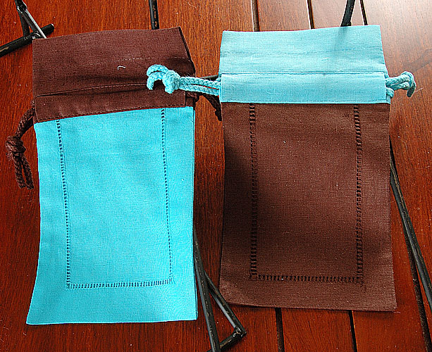 Gift Bag. Aqua-Brown; Brown-Aqua. 2 pieces (set)