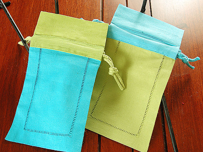 Sachet Bags. Aqua with Soft Green, Soft Green with Aqua (set)