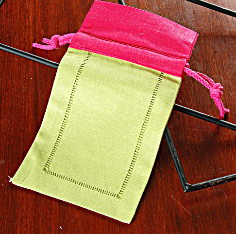 Sachet Bag. Soft Green w/ Raspberry Top. 5x8in Each.