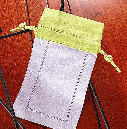 Sachet Bag. Lavender with Macaw Green Top. Each