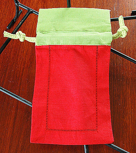 Sachet Bag. Red with Macaw Green Top. 5x8. Each.