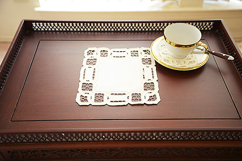 "Square Doily. 8""square. Dynasty Embroidery. Pearled Ivory. 1 pc."