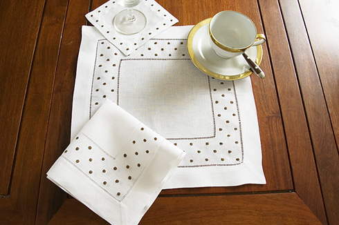 "Square Linen Placemat. Chocolate Swiss Polka Dots. 14""sq. 1piece"