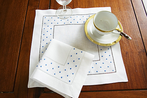 "Square Linen Placemat. French Blue Polka Dots. 14"" square. 1 pc."