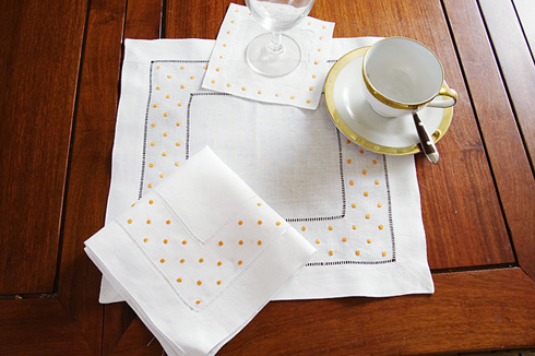 "Square Linen Placemat. Orange Swiss Polka Dots. 14""square. 1 pc."