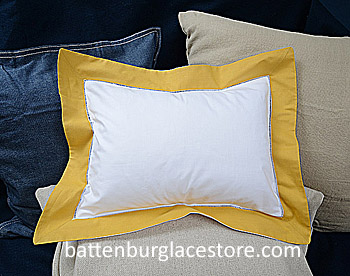 Standard PIllow Sham Cover. White with Honey Gold Border