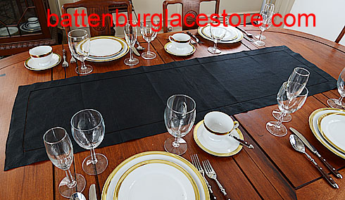 Table runner.Solid color. Black.16x54