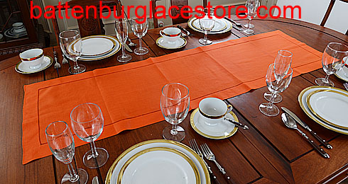 Table runner. Solid Color. Flame Orange 16x54