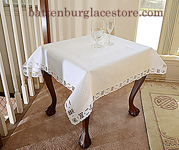 "Square tablecloth. 36"" Square. Dynasty Embroidery. White color"